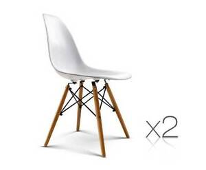 AUS FREE DEL-2x Replica Eames DSW Kitchen Dining Chair - White Sydney City Inner Sydney Preview