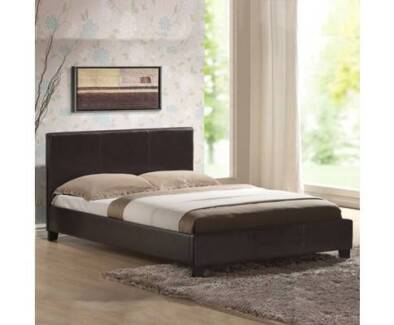 Queen Size PU Leather Bed - Chocolate - Brand New - Free Delivery
