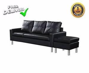 4 Seater PU Leather Sofa Modular Lounge Suite - Black Kardinya Melville Area Preview