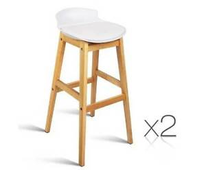 AUS FREE DEL-2x Deluxe PU Leather 75cm High Seat Bar Stools White Sydney City Inner Sydney Preview
