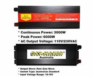 PURE SINE WAVE 3000W MAX 6000W 12V-240V POWER INVERTER CAR CARAVA Success Cockburn Area Preview