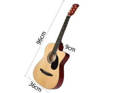 """AUS FREE DEL-38"""" Steel Stringed Acoustic Guitar Natural w/ Stand"""