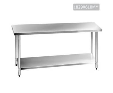304 Stainless Steel Kitchen Work Bench Table 1829mm Food Grade