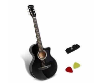 """AUS FREE DEL-38"""" Wooden Auditorium Acoustic Music Guitar - Black"""