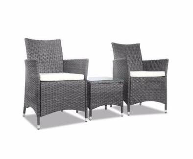 Outdoor 3 Piece Chair U0026 Table Set PE WIcker UV/Weatherproof Style Part 49