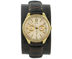 GUESS Women's Brown Leather Strap Quartz Watch