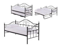 Sofa Bed, with Under Trundle, X 2 3 ft Thick Mattress, Metal Bed, Crstal Finale, Modern, Elegant,