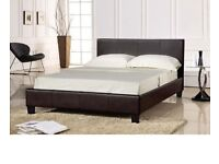 Riva Faux leather King Size 5FT Bedstead in Brown Colour (Frame Only)