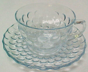 Anchor Hocking Glass BUBBLE Light Blue Cup & Saucer Depression