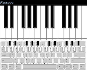 Piano on computer screen and keyboard