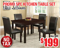 Promo 5pc Kitchen Table Set, $199 Tax Included!