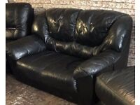 Black Leather Two Seater Sofa very comfy clean niece can deliver