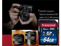 Canon EOS M3 + EF-M 15-45mm and 18-55mm IS STM Lens SDXC 64GB Bundle VGC