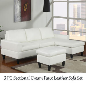 Pc Small Space Sectional Black Faux Bycast Leather Sofa