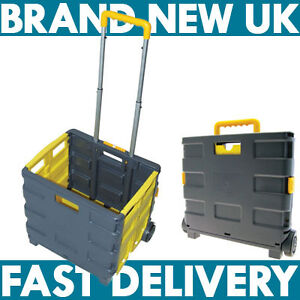 25KG FOLDING SHOPPING TROLLEY STORAGE BOOT CART BOX CRATE CAR VAN CAMPING NEW