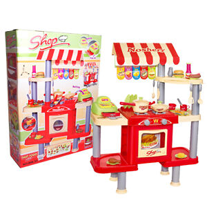 Kids Pretend Play My Food Stand Shop Toy Play Kitchen with Fun Accessories