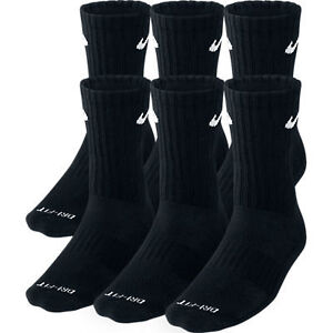 Nike-Dri-Fit-Dry-Fit-Cotton-Black-CREW-Socks-6-Pair-Sz-8-12-L-SX4445-001