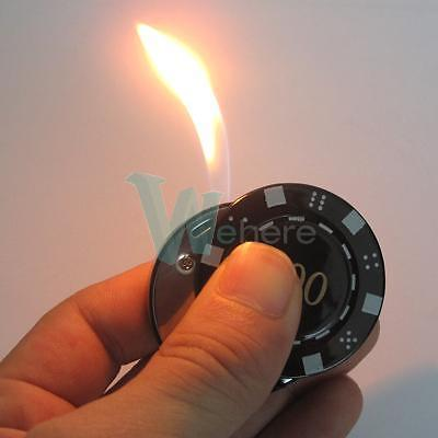 Luxury Black Poker Casino Chip Metal Cigarette Cigar Butane Flame Lighter Torch on Rummage