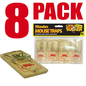 Reusable Wooden Mousetraps Mouse Trap Bait | Pack of 8