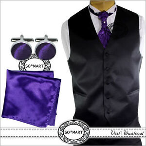 Mens Tuxedo Vest Waistcoat Cravat tie Hanky Cufflinks set 8 Solid Plain Colours