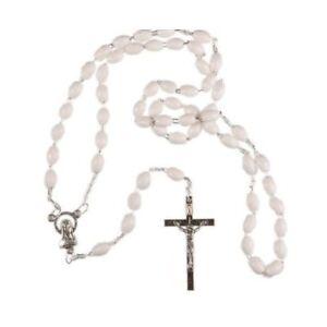 WHITE-ROSARY-BEADS-Rosaries-METAL-CHAIN-CRUCIFIX