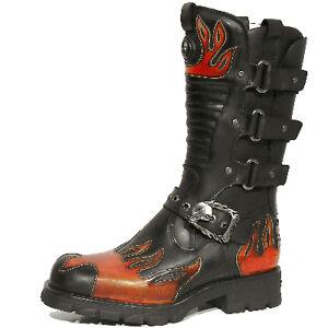 NEWROCK-New-Rock-7603-S1-Black-Red-Flame-Biker-Motorcycle-Boots