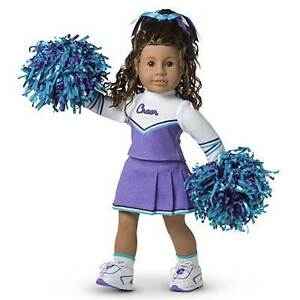 American Girl Doll JUST LIKE YOU Purple CHEERLEADER Outfit COSTUME Dress Pom Pom