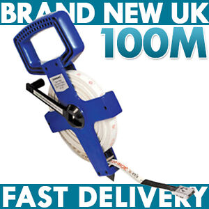 NEW 100m Long Open Reel Fibreglass Surveyors Tape Measure LIFE Guarantee