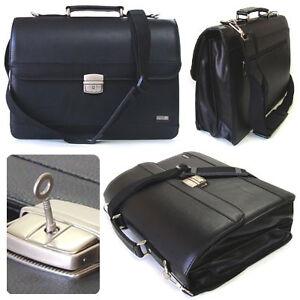 A0917-New-Leather-Briefcase-Shoulder-Messenger-Bag-BookBag-Key-Lock-Bag