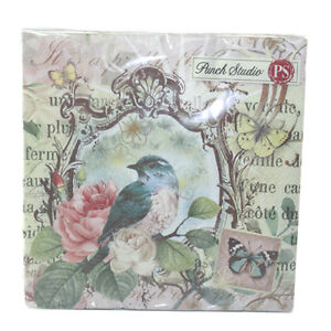 PUNCH STUDIO LUNCHEON NAPKINS- #53642 FLORA BIRD