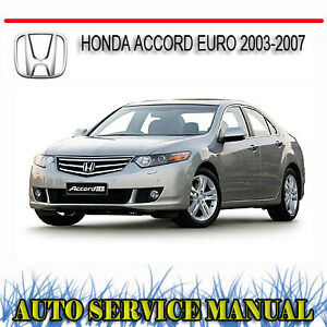 honda accord euro 2003 2007 repair service manual dvd ebay. Black Bedroom Furniture Sets. Home Design Ideas