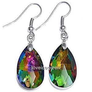 Rainbow Teardrop Crystal Glass Dangle Earrings Earwires