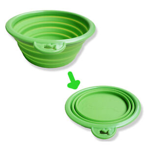 NEW-GREEN-SILICONE-PORTABLE-PET-DOG-CAT-COLLAPSIBLE-TRAVEL-BOWL