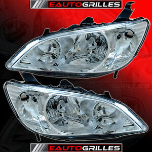 04-05-HONDA-CIVIC-Chrome-Crystal-Clear-Lens-Head-Lights-2in1-Headlight-A-Pair