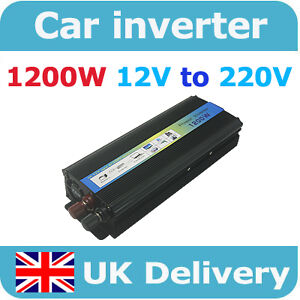 1200W Car Battery Power Inverter Auto DC 12V To AC 220V  Adapter Voltage Watt