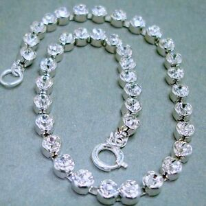 WOMEN-STERLING-SILVER-SWAROVSKI-CRYSTAL-ANKLET-9-5-LONG-CUP-STYLE-RETRO