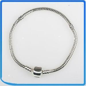 XLG-ADULT-23CM-925-SILVER-STAMPED-EUROPEAN-BRACELET-FOR-BEADS-CHARMS-FREE-BEAD