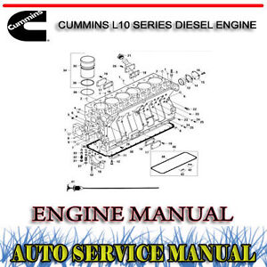 CUMMINS L10 SERIES DIESEL ENGINE SERVICE REPAIR MANUAL ~ DVD