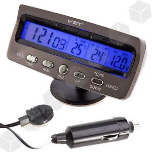 Car-Digital-Alarm-Clock-LCD-Thermometer-Battery-Volt-Meter-Voltmeter-Tester-12V