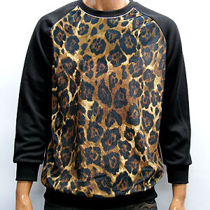 Mens black brown velvet leopard print thermal shirt long for Black brown mens shirts