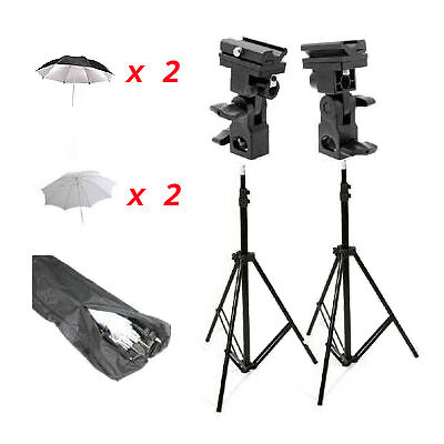 CowboyStudio Double Off-Camera Flash Mount Kit w/ Case, Stand, Umbrellas,Mount B on Rummage