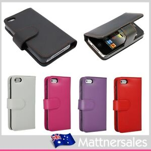 Executive Leather Flip Wallet for Apple iPhone 4S 4GS 4 4G Card Pouch Case Cover