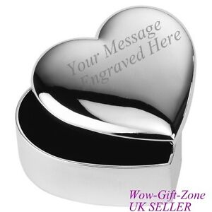 ENGRAVED PERSONALISED SILVER HEART JEWELLERY TRINKET BOX WEDDING B'DAY GIFT EH5