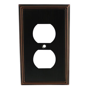 Oil Rubbed Bronze Single Duplex Wall Plate Plug Electric Outlet Cover 65049-ORB