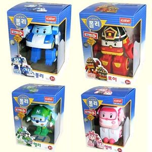 Robocar-Poli-set-4pcs-Poly-Roi-Amber-Heli-kid-toy-car-Korean-Animation-Character