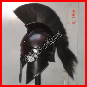 Medieval Ancient Costume Armour Roman Greek Corinthian Helmet with Black Plume