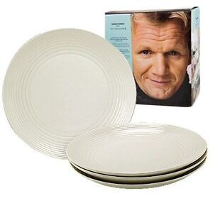 Royal Doulton Gordon Ramsay Maze White Dinner Plates 4pc set