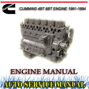 CUMMINS 4BT 6BT ENGINE 1991-1994 SERVICE REPAIR MANUAL ~ DVD