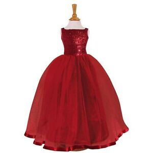 KIDS GIRLS SEQUIN BALLGOWN BALLROOM FLOWER GIRL BRIDESMAID PARTY BALL GOWN DRESS