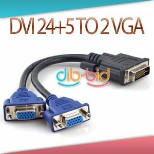 New DVI-I 24+5 Pins Male to 2 Dual VGA Female Monitor Adapter Splitter Cable